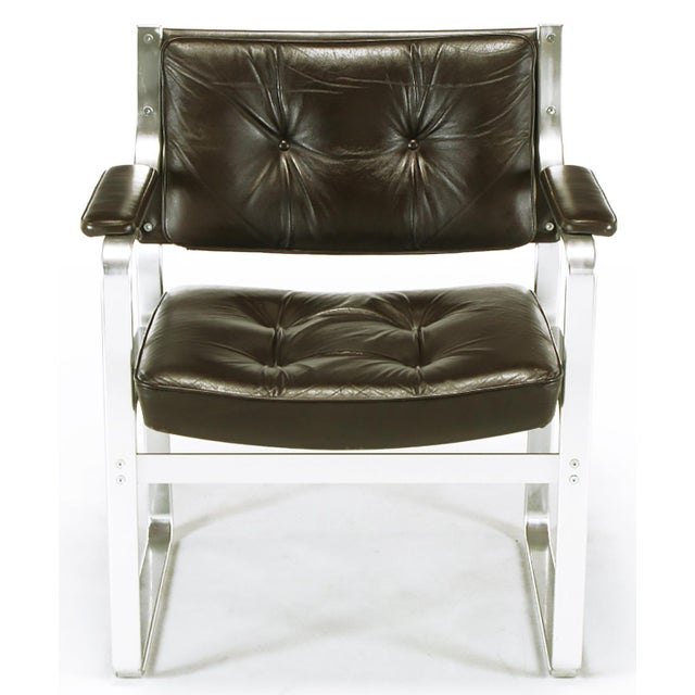 Mid-Century Modern Pair Karl-Erik Ekselius Leather and Aluminum Mondo Armchairs For Sale - Image 3 of 9