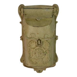 1980s Vintage Style Cast Iron Off White Mailbox For Sale
