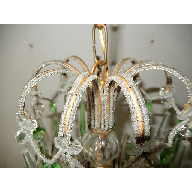 Crystal Italian Micro-Beaded Green Crystal Prisms Chandelier For Sale - Image 7 of 10