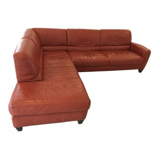 Modern Terracotta Leather Sectional Sofa For Sale