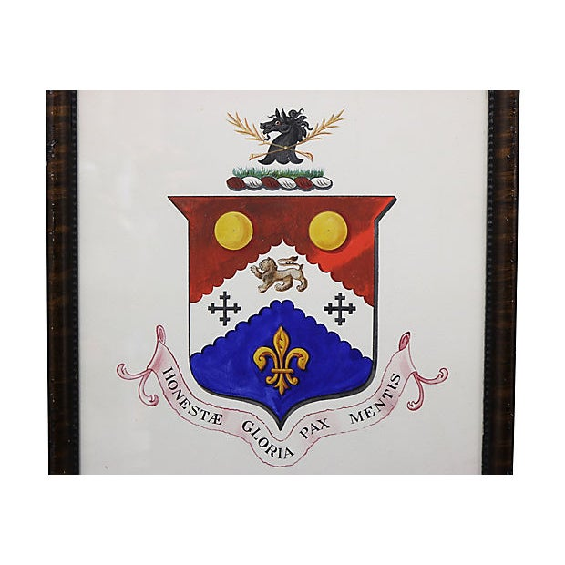 "Antique hand-painted English Coat of Arms. Inscription reads ""Glory Genuine Peace of Mind"". Unsigned. Hanging hardware on..."