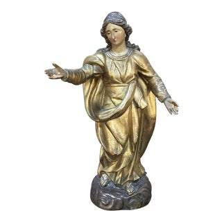 19th Century Giltwood Polychrome Statue of Madonna For Sale