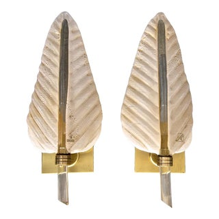 1960s Barovier & Toso Murano Glass Plume Leaf Wall Sconces - a Pair For Sale
