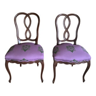 Vintage Mahogany Ribbon Pretzel Back Muriel Brandolini French Style Side Chairs- a Pair For Sale