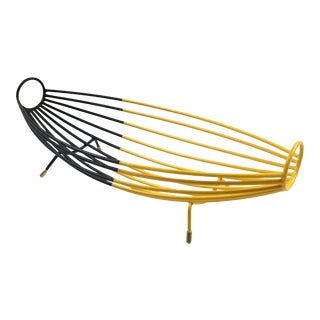 French 1960s Modernist Black and Yellow Metal and Brass Bowl Basket Centerpiece For Sale