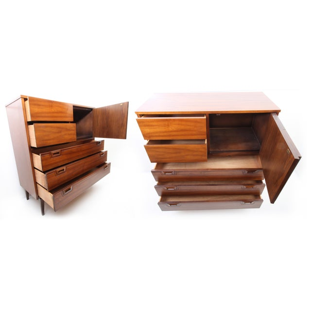 1960s 1960s Danish Modern Highboy 5-Drawer Dresser With Cabinet For Sale - Image 5 of 9