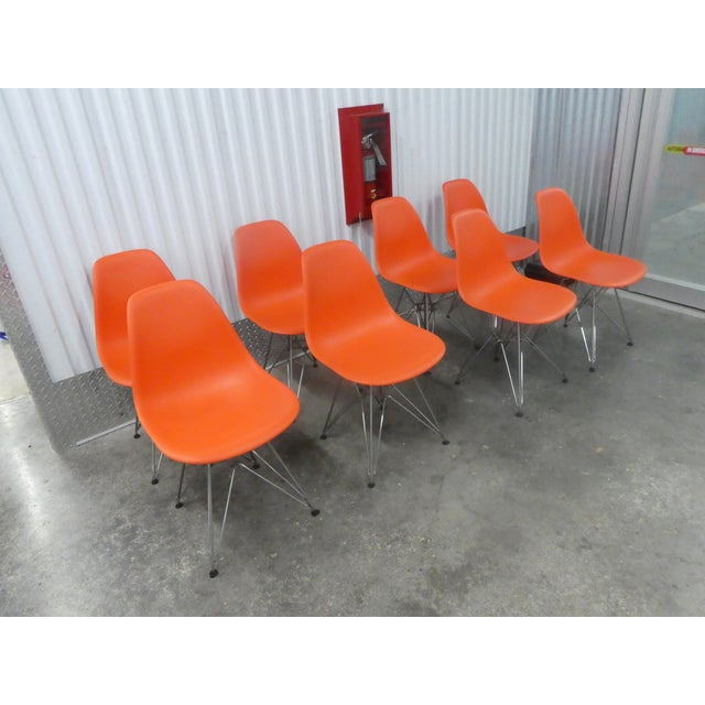 Mid-Century Modern 8 Orange Herman Miller Eames Office Eiffel Tower Chairs For Sale - Image 3 of 10