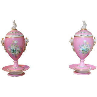 Pink & White Paris Urns - A Pair For Sale