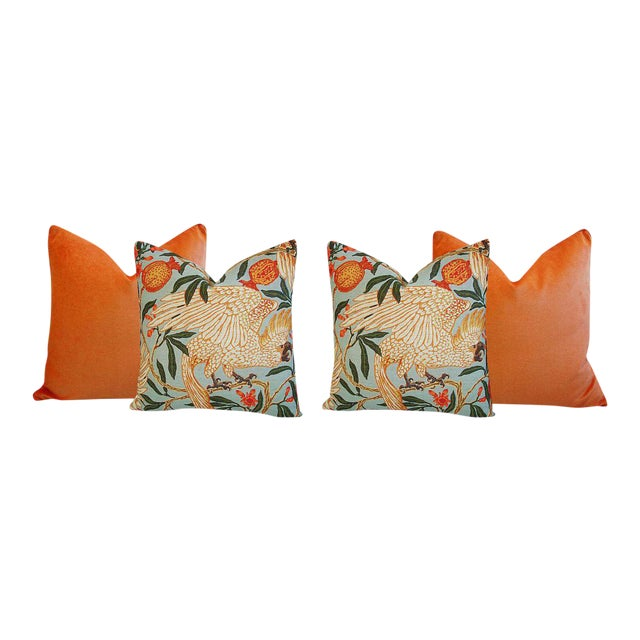 Tangerine Orange Velvet & Tropical Parrot & Pomegranate Feather/Down Pillows - Set of 4 - Image 1 of 6