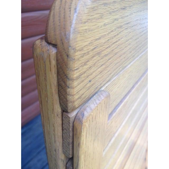 1990s Vintage R. Benna Bent Oak Slat Back Rocking Chair For Sale - Image 10 of 13