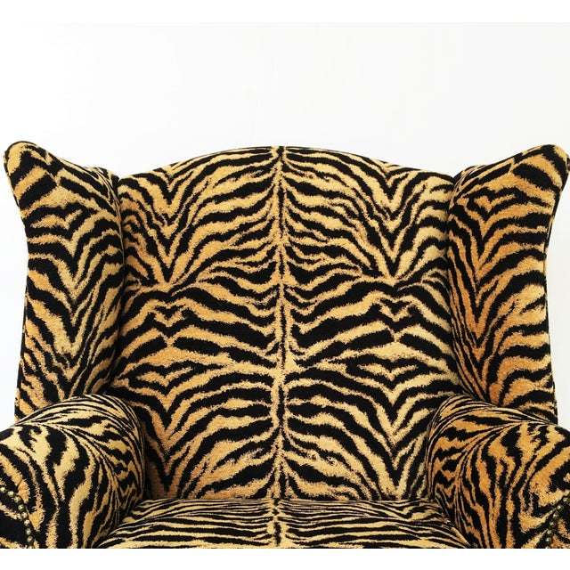 Scalamandre Georgian Style Mahogany Wingback Armchair in Scalamandré Le Tigre For Sale - Image 4 of 8