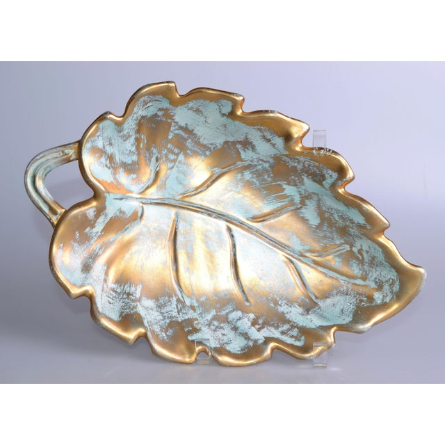 Original Mid-Century Modern gold leaf ceramic catchall dish by Stangl. Marked underneath: Stangl Pottery, Trenton, N.J....