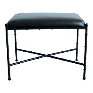 Black on Black Leather and Metal Bamboo Vanity Stool For Sale