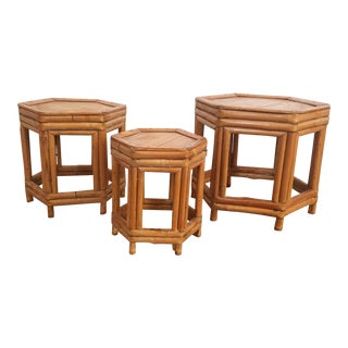 Vintage Hexagonal Bamboo Plant Stands - Set of 3 For Sale