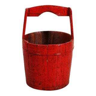Antique Red Lacqured Hand Carved Chinese Water Bucket For Sale