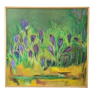 Vintage Impressionist Crocus Flower Oil Painting For Sale