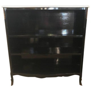 Ebony Marble-Top Bookcase or Console Table Attributed to Maison Jansen For Sale