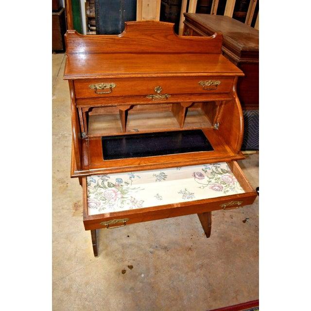 Antique Oak Drum Roll Top Desk For Sale - Image 6 of 11