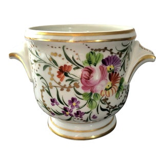 Vintage French Hand Painted Floral Limoges Cachepot For Sale