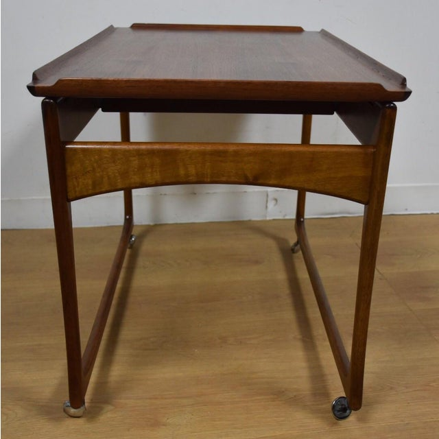 Ingvard Jensen Rolling Teak Bar Cart - Image 7 of 11