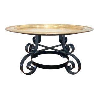 1980s Hollywood Regency Copper and Iron Coffee Table