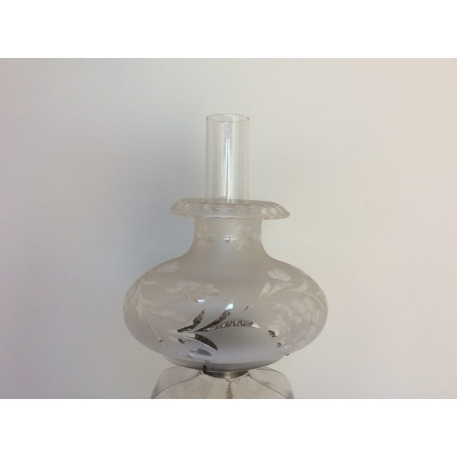 French Antique Glass Oil Lamp Conversion With Shade For Sale - Image 3 of 9