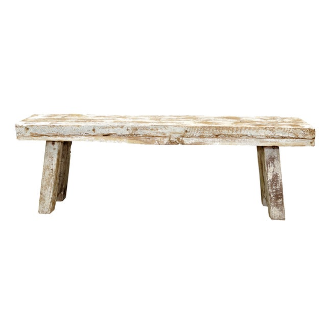 Rustic Whitewashed Bench For Sale