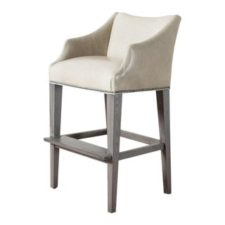 Campaign Taupe Leather Bar Stool For Sale