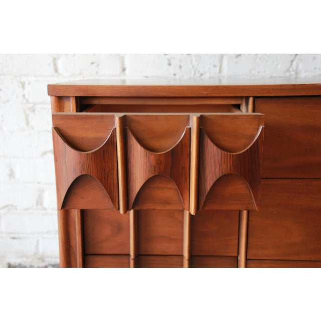 Brown Kent Coffey Perspecta Sculpted Walnut and Rosewood Triple Dresser or Credenza For Sale - Image 8 of 11