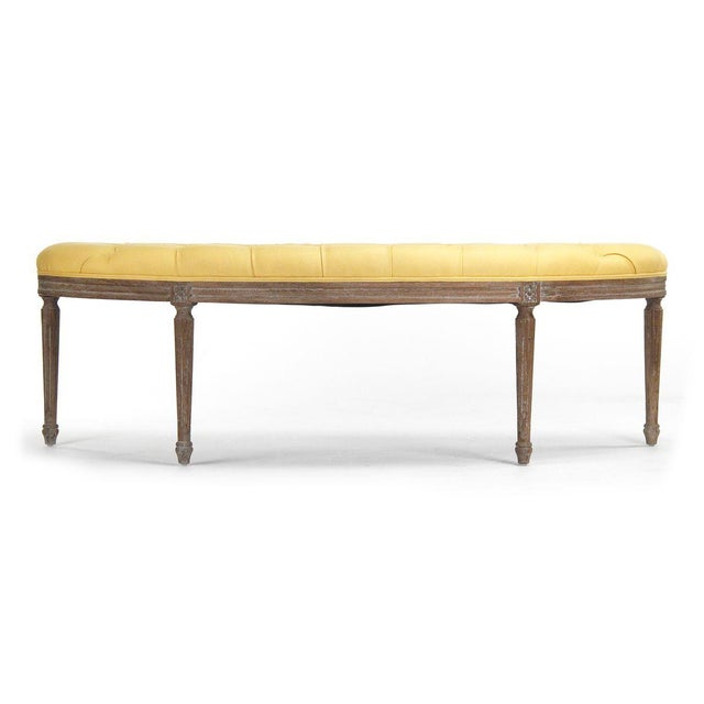 2020s Leah Curved Bench in Yellow For Sale - Image 5 of 5