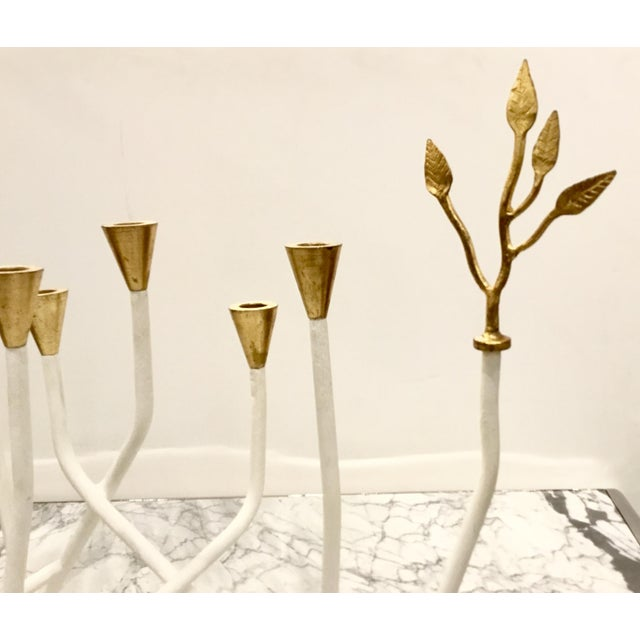 Contemporary Contemporary Arteriors White and Gold Daphne Candle Holder For Sale - Image 3 of 5
