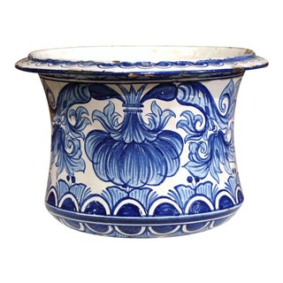 Mid-19th Century French Hand-Painted Blue and White Cachepot Planter For Sale