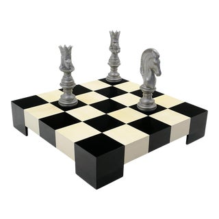 1960s Milo Baughman Black & White Checkerboard Coffee Table With 3 Large Chess Pieces For Sale