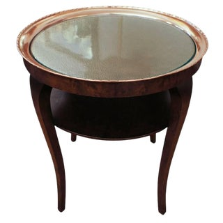 Swedish Smoking Table, This Side 1920s Table Features a Hammered Copper Tray For Sale