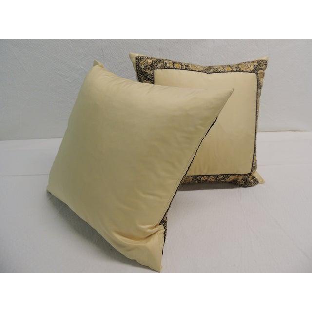 Petite Yellow Japanese Silk Pillows - A Pair - Image 4 of 4