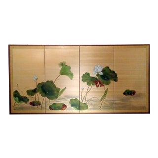 Mid Century Japanese Hand Painted Water Lilies on Silk Byobu Screen For Sale
