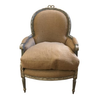 French Blue Bergere Chair For Sale