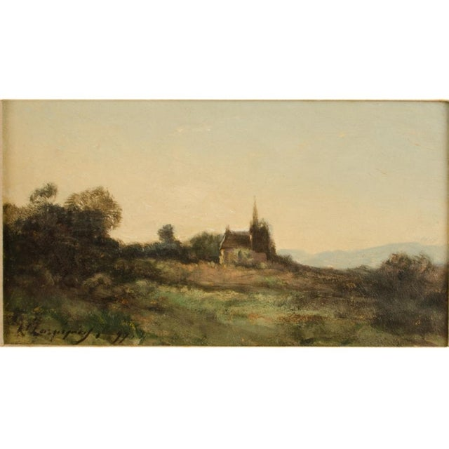 Lonely Church, landscape with church on hill in distance of a field. - Oil on Canvas , signed and dated '11 - Framed...