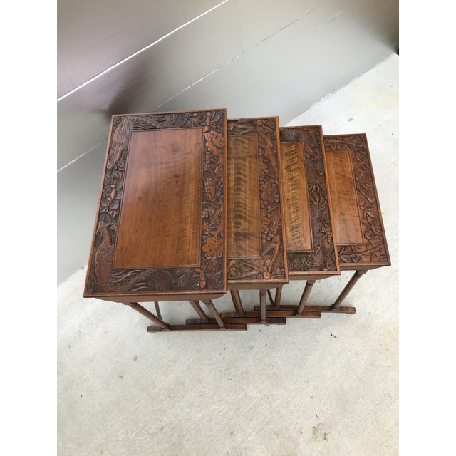 Brown Antique Nesting Tables - Set of 4 For Sale - Image 8 of 11