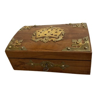 English Edwardian Card Box with Brass Decoration For Sale