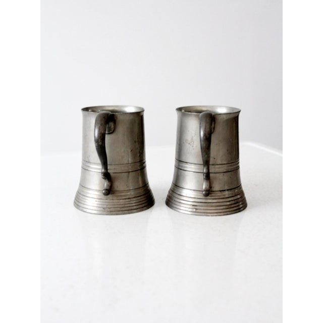 Early 20th Century Antique Pewter Glass Bottom Tankards - a Pair For Sale - Image 5 of 13
