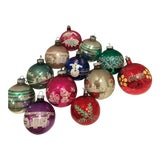 Image of 1950's Vintage Shiny Brite Christmas Glass Ornaments - Set of 12 For Sale