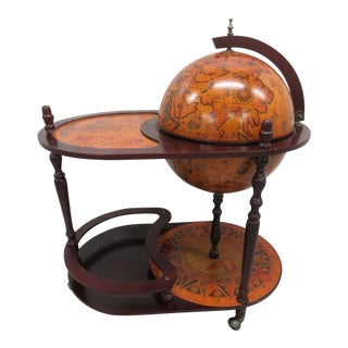 French World Globe Bar Serving Cart For Sale