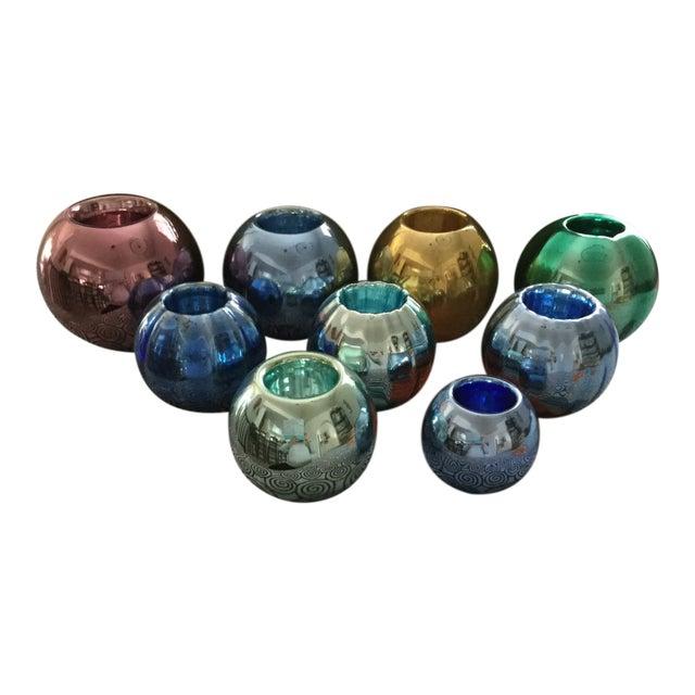 Vintage Czech Mercury Glass Vases - Set of 9 For Sale