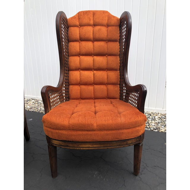 Orange 1970s Hollywood Regency Orange Velvet Canes Wingback Chairs - a Pair For Sale - Image 8 of 10