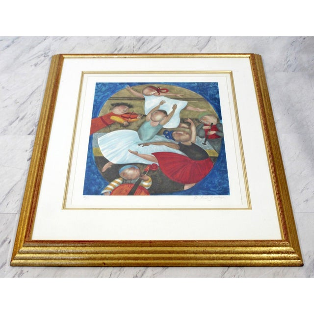 Mid-Century Modern Mid-Century Modern Gold Gilt Framed Lithograph Signed by Graciela Boulanger For Sale - Image 3 of 7