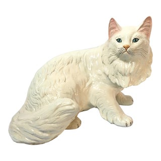 Lifesize Marwal Chalkware Persian Cat Figurine For Sale