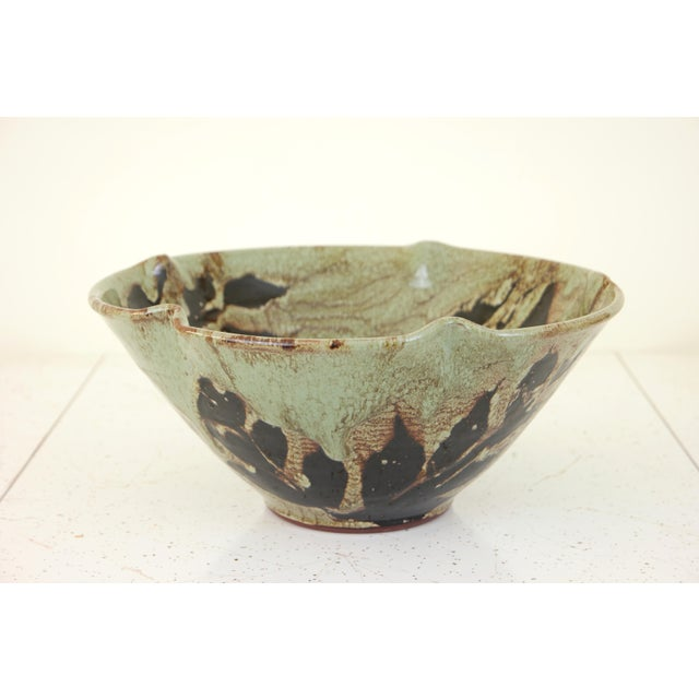 2000 - 2009 Large Hand Made Glazed Ceramic Decorative Bowl For Sale - Image 5 of 10