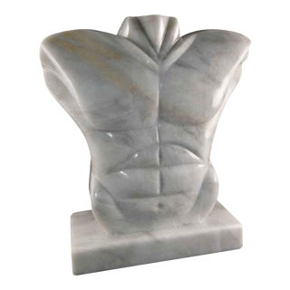 Maitland Smith Marble Torso Sculpture For Sale
