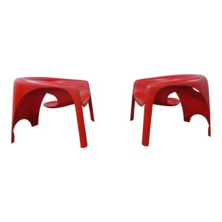 Outrageous 1970's Italian Fiberglass Lounge Chairs - a Pair For Sale